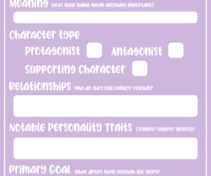 Countdown to NaNoWriMo: Day 6 — One-Page Character Sheet